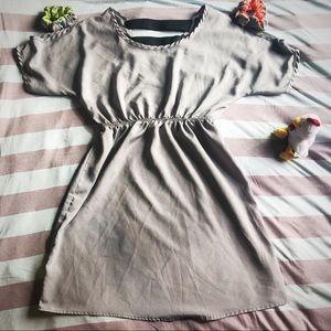 Rue21 gray/silver dress elastic back cold shoulder
